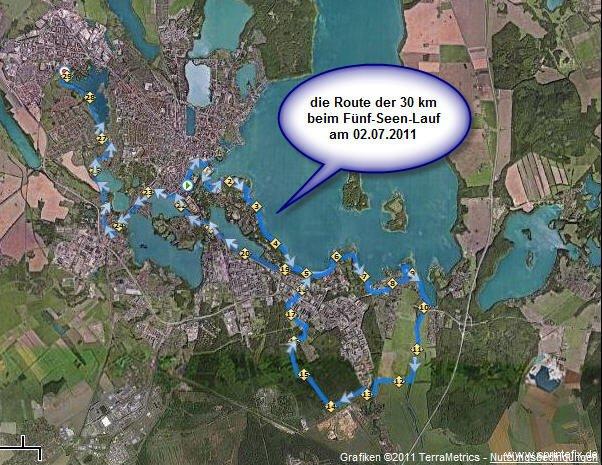 Fünf-Seen-Lauf Schwerin 2011 - die 30 km Route